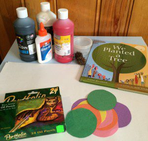 What you'll need for this art adventure! And don't you just LOVE the wood panelling?