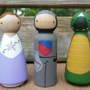 Storybook Princess Wooden Peg Doll Set