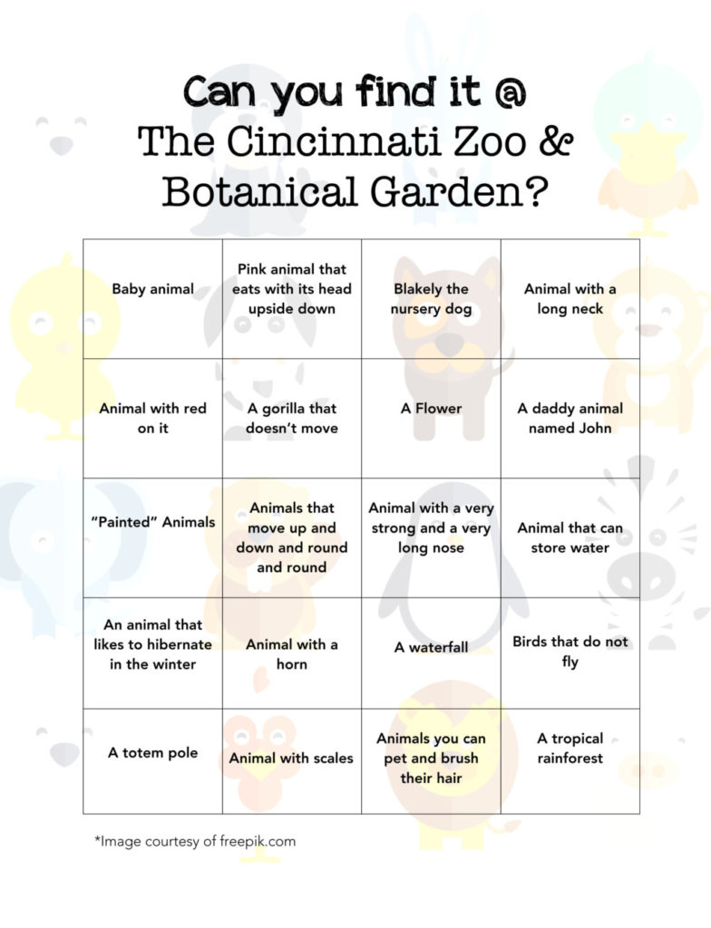 image about Zoo Scavenger Hunt Printable called Track down It at The Cincinnati Zoo with Printable