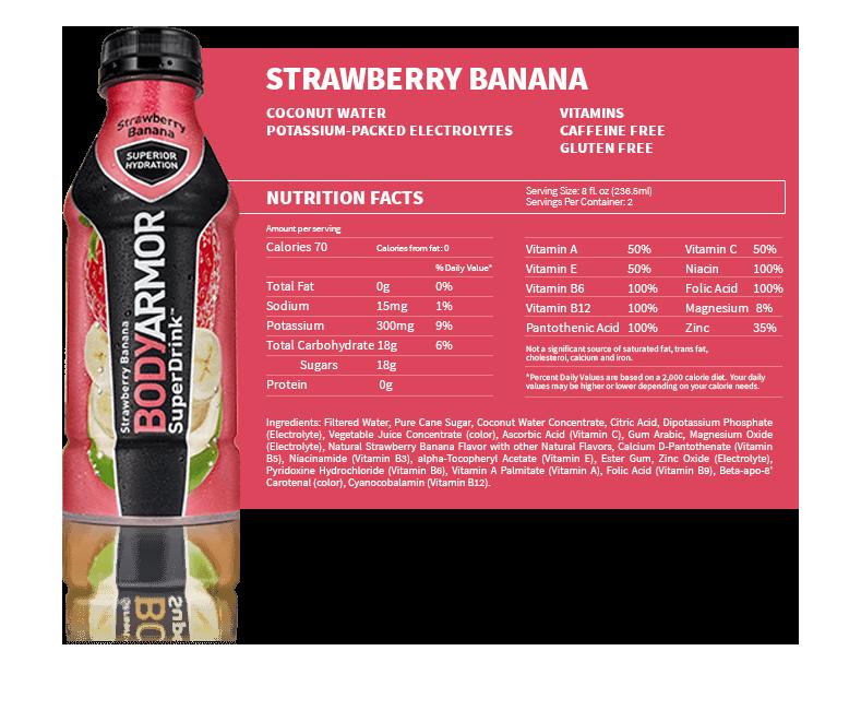 BODYARMOR Strawberry Banana Nutritional Label