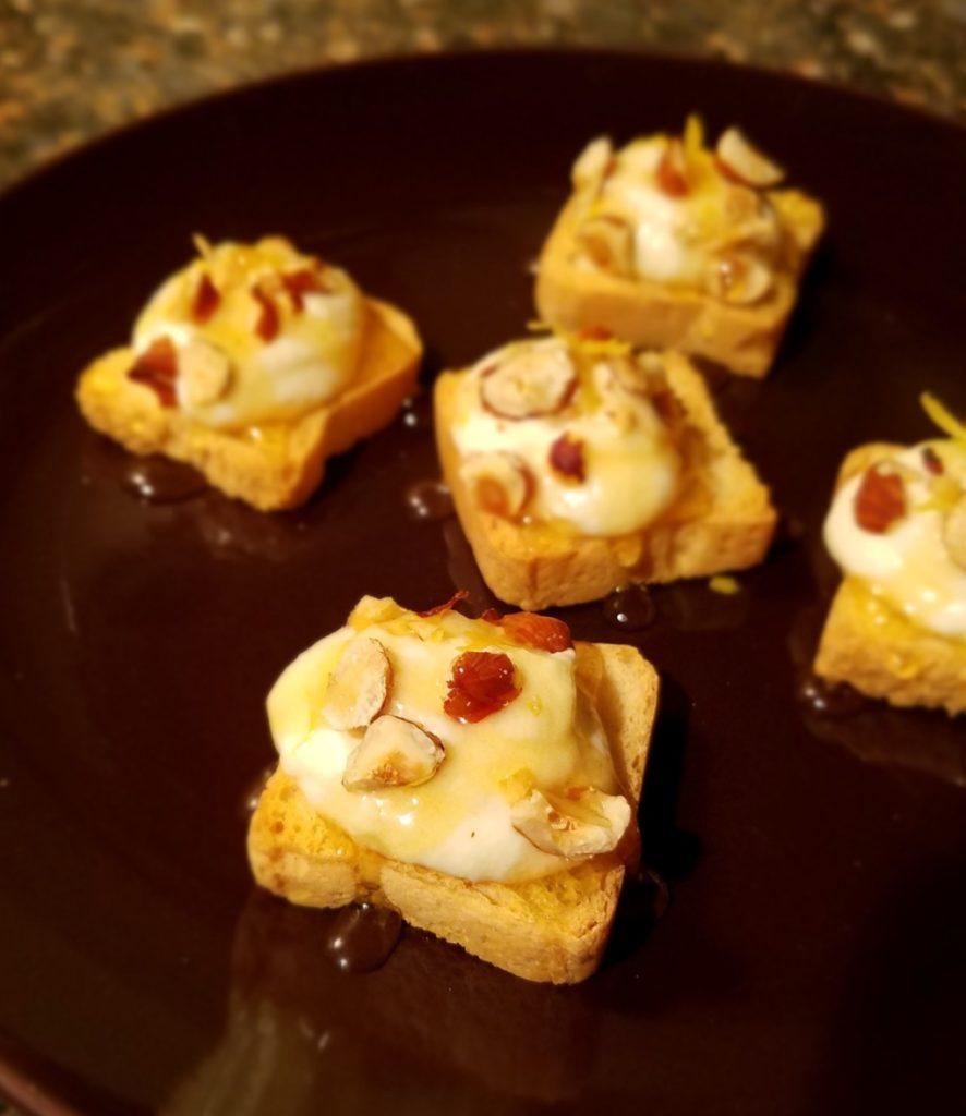 Sweet & Nutty Ricotta Mini Toasts