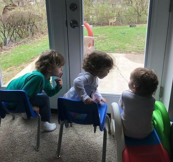 3 kids watching deer in yard
