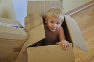 Little boy in a box