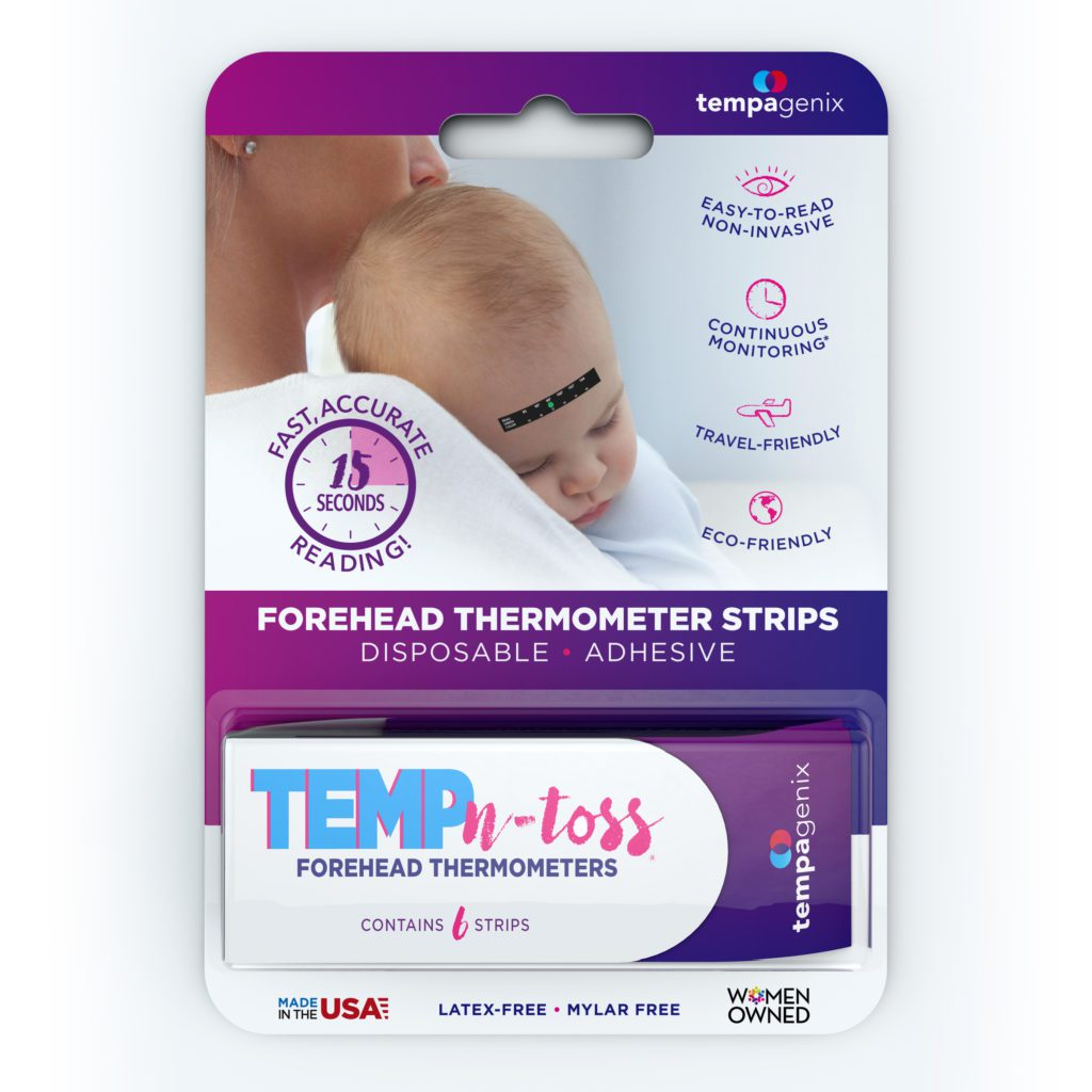 Temp-N-Toss disposable forehead thermometer product packaging