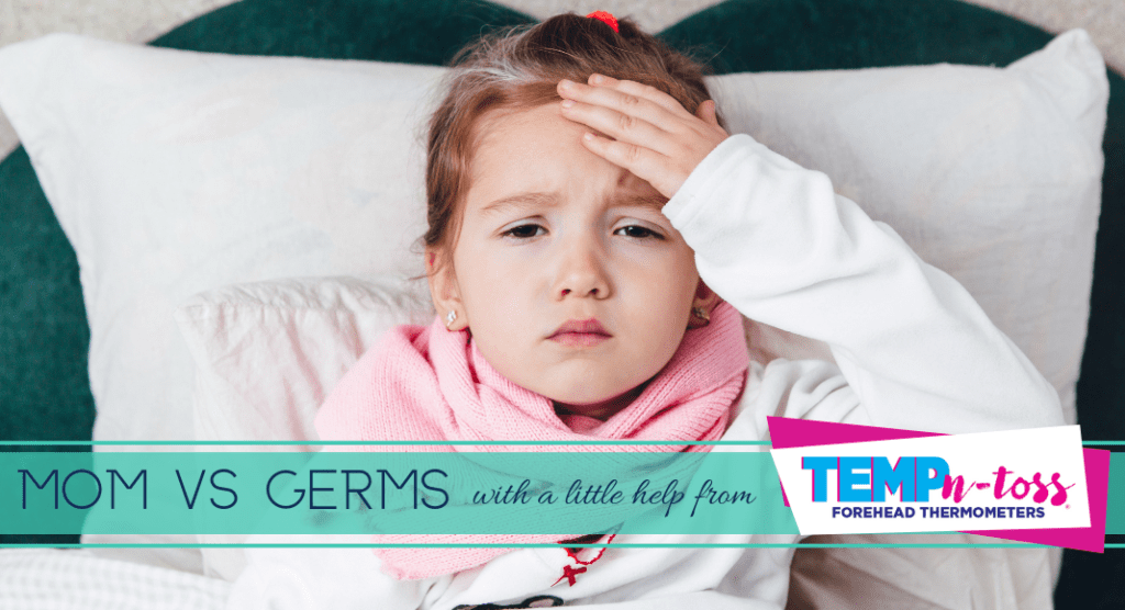 Female child with fever wincing in pain from germs