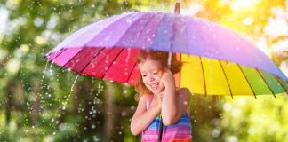 Girl with umbrella in rain