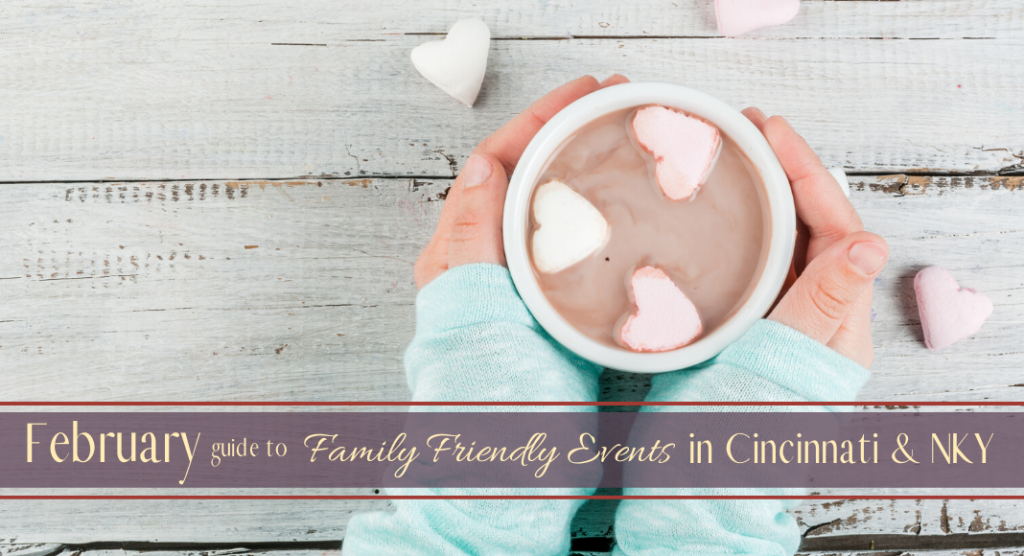 Title Image February Events 2020 - Hands holding hot chocolate with marshmallow hearts