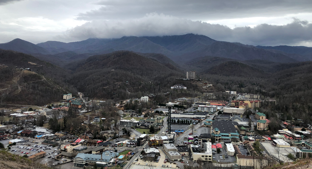 A cloudy view of Gatlinburg, Tennessee and Mt. LeConte taken from there new Skybridge, the longest pedestrian suspension bridge in the USA