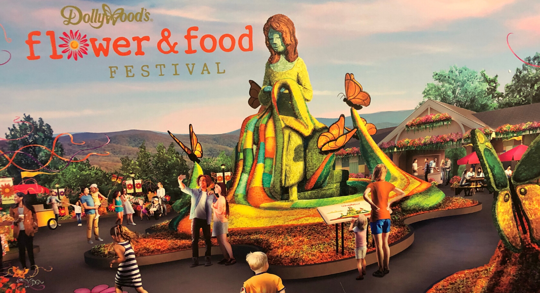 A promotional rendering of Dolly Parton's mother made entirely of flowers at Dollywood's Flower and Food Festival