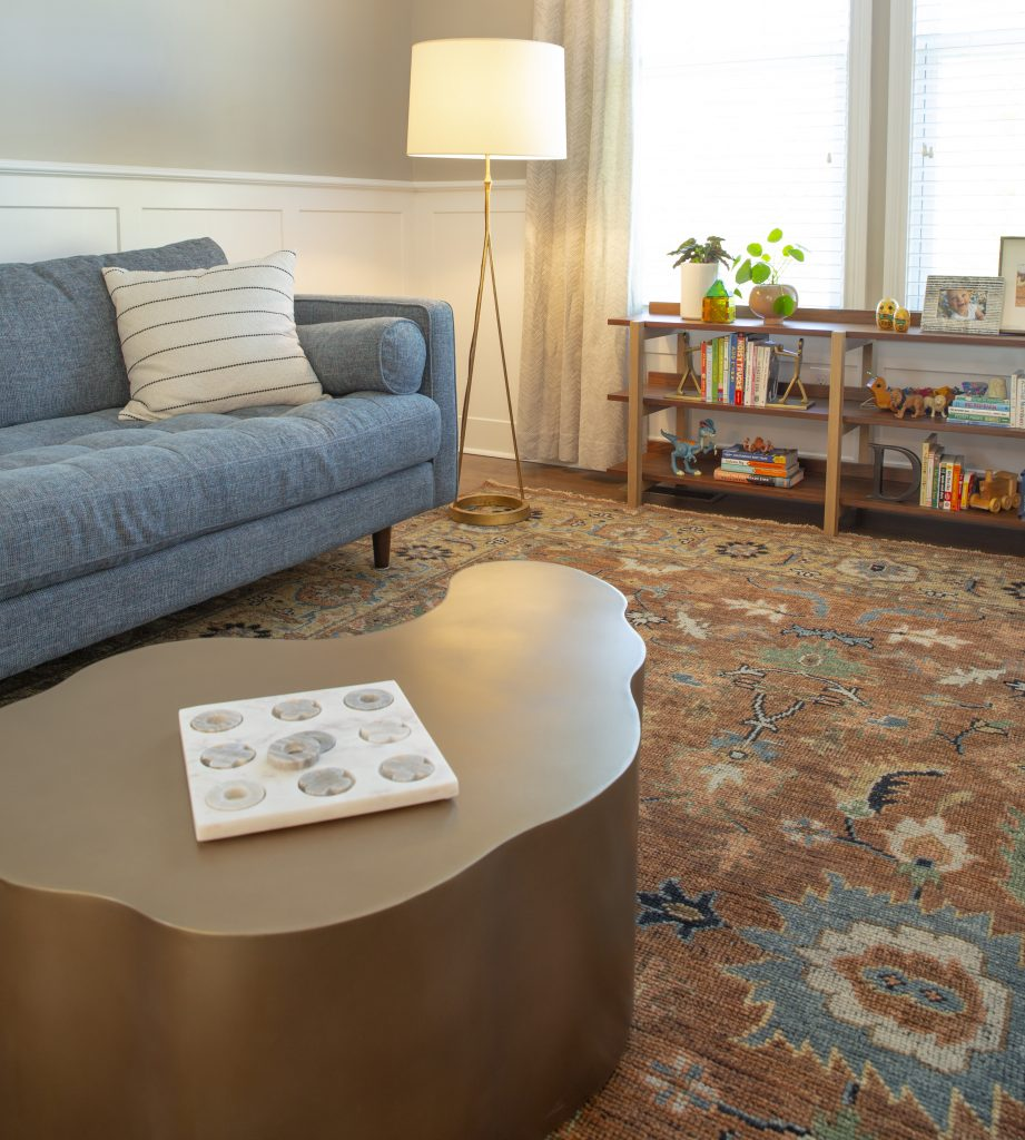 The Memphis design home trend features rounded corners and pops of color.
