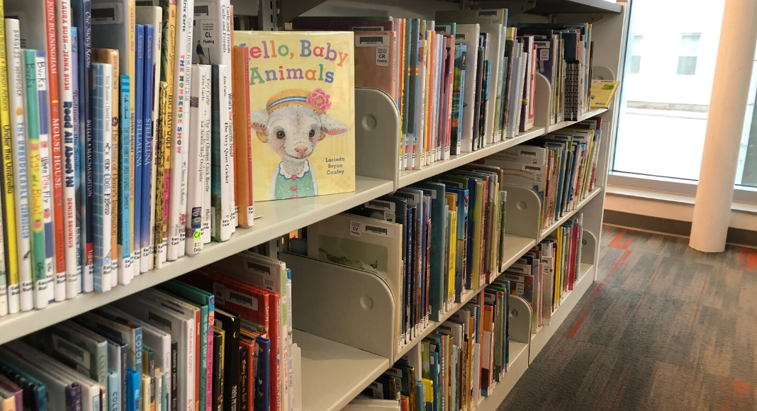 Children's books with one featuring a baby lamb with a flowered headband lined up in a row at the Reading branch of the Hamilton County Library