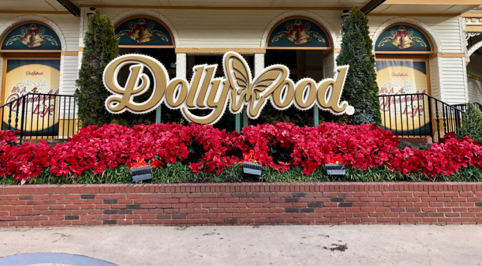 Red flowers in front of the main Dollywood sign on Showstreet at Dollywood Amusement Park