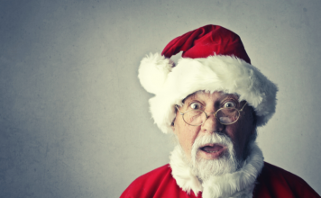 Santa with an expression of surprise